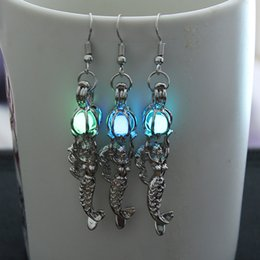 Wholesale Filigree Dangle Earrings - Luminous sea-maid charm Filigree earrings Mermaid earrings Pearl charm Victorian style lady jewelry gift