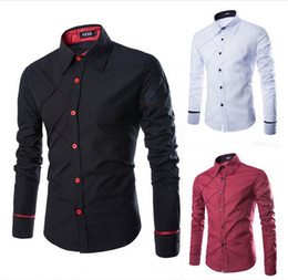 Wholesale Imported Mens Shirts - free shipping New Arrival Top Quality Brand Mens Imported Clothing mens Dress Shirts Men Lattice alignment design Slim Long sleeve Shirts