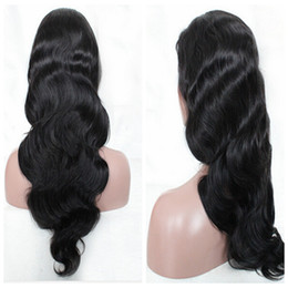 Wholesale Blonde Long Hair Styles - Fashion Synthetic Lace Front Wig Long Body Wave Beauty Synthetic Cheap Wavy Wig with Baby Hair Black Hair Middle Part Style For Black Women