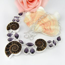 Wholesale Fossil Silver Necklace - Wedding Holiday Gift Party Jewelry Real Ammonite Fossil Crystal Gemstone 925 Sterling Silver Plated Chain Necklace Russia Necklace Jewelry