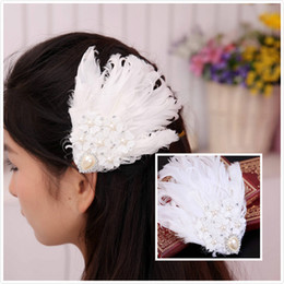 Wholesale Cheap Vintage Hair Accessories - 2015 Vintage Feather Wedding Hair Clips Lace Crystal Bridal Barrettes Handmade Wedding Prom Party Hair Accessories with Faux Pearls Cheap