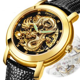 Wholesale Dragon Power - Wholesale-DNWEID brand luxury gold dragon men's leather steampunk skeleton watch men power golden self-wind watches relogio wristwatch
