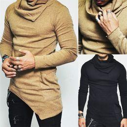Wholesale korean xxl - New 2017 Fashion Korean Casual Heap Collar Long Sleeves Shirt Men Irregular Designer Slim Fit T Shirt Solid Color Long Section Sweater S-5XL