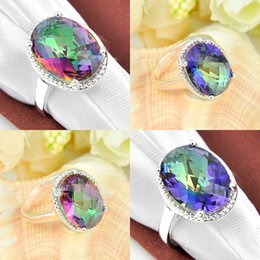 Wholesale Mystic Rainbow Rings - 10 Pieces 1 lot Holiday Gift Fire Rainbow Mystic Topaz Gems 925 Sterling Silver Ring Russia American Australia Weddings Ring Jewelry Gift