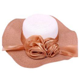 Wholesale Twins Hat Wholesale - Wholesale-Hot Marketing Summer New Women Large Brim Straw Hat Bohemia Twin Flower Sun Hat Foldable Beach Headwear June18
