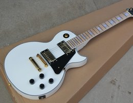 Wholesale Electric Guitar Neck Fretboard - White Electric Guitar with Black Pickguard,Fixed Bridge,Maple Fretboard,White Binding Body and Neck,offering customized services