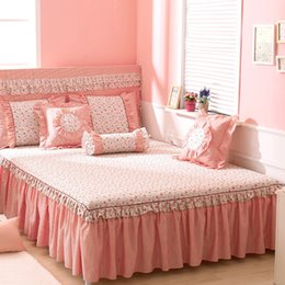 Wholesale Full Si - Wholesale-Korean Princess Dream Bed Skirts 100% Cotton Bed Skirts Can Ailei Si Double-wide Queen Bed Skirts Large Floral Printing Activity