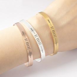 Wholesale gold arrow bracelet wholesale - Wholesale- BE BRAVE Inspirational Quote Bracelets Women Men's Mantra Jewelry Gift Letter Arrow Bangle Arm Cuff Bracelet Manchette Femme BFF