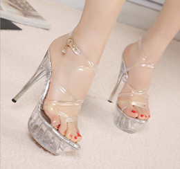 Wholesale 14 Cm Heels - Summer promotion 14 cm high with crystal sandals Female professional models love fashion shoes of big yards