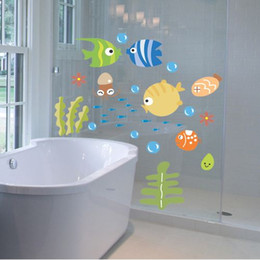 Wholesale Tropical Fish Stickers Decals - Lovely Tropical Cartoon Fish Sea Bubble Ocean World Removable Wall Sticker Decal Washroom Baby Room Home Decor