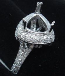 Wholesale Semi Mount Ring 14k - Wholesale-Trillion Cut 8.0x8.0mm 14k White Gold & 0.72ct Diamond Semi Mount Ring Setting
