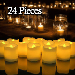 Wholesale flameless votive candle - 24 PCS Flameless Votive Candles Battery Operated Flickering LED Tea Light