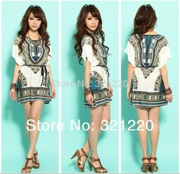 Wholesale Casual Folk Style Dresses - 2015 New Lady Fashion Dress Folk Print Bohemia Style Beach Dress Blue Plus Size Lce Silk Romana Cheap Drop Shipping