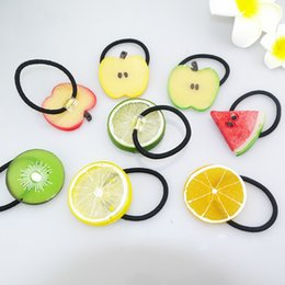Wholesale Ponytail Holders For Bows - Little Girls Funny cute Hairbands hair elastic ties transparent fruit Hair Bands girls ponytail holder Kawaii Hair Accessories for children