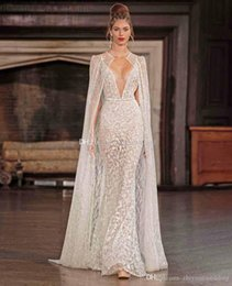 best crystals mermaid wedding dress  - real photo sexy wedding dresses with cape 2017 berta bridal spagetti strap deep v neck full embellishment sweep train