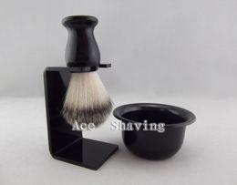 Wholesale Acrylic Hair Brushes - Black Resin Handle Nylon Hair Shaving Brush Acrylic stand & Bowl FREE SHIPPING