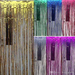 Wholesale Blue Tinsel - Wedding Party Backdrop Tinsel Curtain 1m * 1m Hanging Stripes Pub House Portiere Door Curtain Stage Background wd504L1M