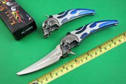 Wholesale blade designs - 2015 Restock Ghost design folding knife mini tanto blade 5CR15MOV 57HRC edge blue handle Cutting tool best gift knife B323L