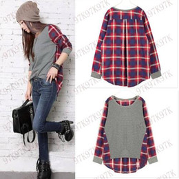 Wholesale Top Wholesale Clothing For Women - Wholesale-S-XL Casual Cotton Women T-Shirt Pullovers Women Tops Fashion Fall Plaid Printed T-shirts For Women Women Clothing