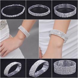 Wholesale Rhinestone Crystal Elastic Bracelet - 1-10 row Shiny Rhinestone Elastic Lady Bangle Stretch Crystal Bangle Bracelet Fit Party Prom Wedding Bride Jewelry Gift Various Choose ZAU*5