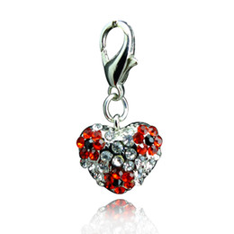 Wholesale Heart Shaped Floating Charms - Fashion Floating Charms Inlaid Rhinestones Heart Shaped Car Keychain Locket Charms Free Shipping