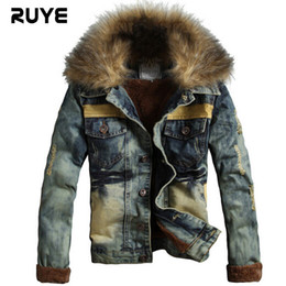 Wholesale Coat 22 - Fall-Free Shipping 2015 Autumn Fashion Men'S Washed Brand Denim Jacket Plus Thick Velvet Fur Collar Retro Denim Jacket Coat W-22