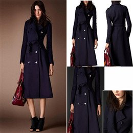 Wholesale Cheap Woolen Coats Women - Cheap Wool Coats For Women Dark Navy Long Belted Fashion Jackets For Women With Double Breasted Pockets Wool Blends Womens Winter Coat
