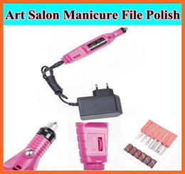 Wholesale Manicure Pedicure Drill Polish Machine - 1set Pen Shape Electric Pedicure Nail Drill Machine Art Salon Manicure File Polish Tool+6 File Bit Acrylic