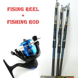Wholesale Carbon Spinning Fishing Rods - new Lure Fishing Reels spinning reel Fish Tackle Rods Fishing Rod and Reel Carbon FRP rod Ocean Rock (Lure As Free Gift )