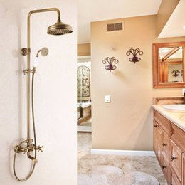 Wholesale Tubs Brass Shower Head - Antique Brass Tub Shower Faucet with Shower Head &Hand ShowerLuxury Bathroom Brass Antique Shower Faucet Set Single Handle Wall Mount Expose