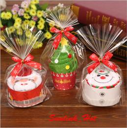 Wholesale Christmas Cake Towel Gift - handmade multi styles small christmas gift 30cm*30cm 40g natural pure cotton Cake Towel Cute cartoon Santa Claus