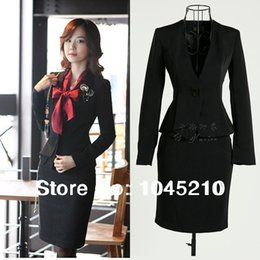 Wholesale Button Pencil Skirt - 4XL Plus Size Beautiful Ladies Fashion Business Suits, Women Blazer with Pencil Skirt Suit Sets, Fashion Office Clothing Skirt Sets