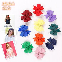 Wholesale Hair Clip Ribbon Design - Ribbon Bowknot Design Flower Shape Baby Girls Hair Accessories Kids Hotsale Hair Clip Famous Pink Rose Floral Hair Clips Top Quality Bow2015