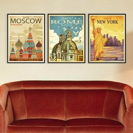Wholesale Wall Art Triptych - Triptych Vintage Retro New York Rome Moscow City Art Prints Poster Shabby Chic Wall Picture Canvas Oil Painting Hotel Home Decor