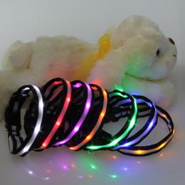 Wholesale Dog Leash Collars - LED Nylon Pet dog collars leashes Night Safety LED Light-up Flashing Glow In The Dark Electric LED Luminous dog collar