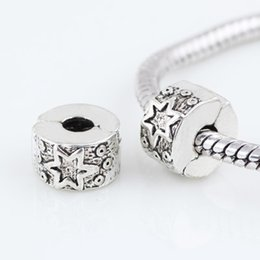 Wholesale Stoppers For Bracelets - Alloy Beads Spot Round Chamilia DIY beads Stopper Spacer Murano Star Bead Charm Fit For Pandora Bracelet Charms 0304