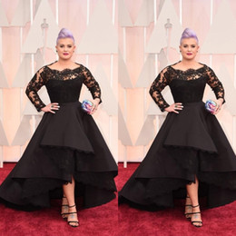 Wholesale Long Oscars Dress - 2015 Plus Size Long Formal Dresses Oscar Kelly Osbourne Celebrity Black Lace High Low Red Carpet Sheer Evening Dresses Ruffles Party Gowns