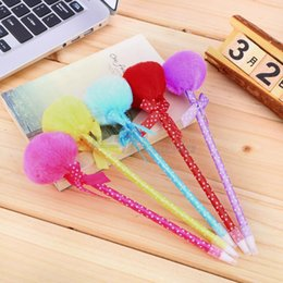 Wholesale Gifts Princess Pen Kids - 5pcs set Adorable Fluffy Pens cute ballpoint pen Ribbon Princess Lovely Fuzz Ball Bow kids gifts lot school accessories