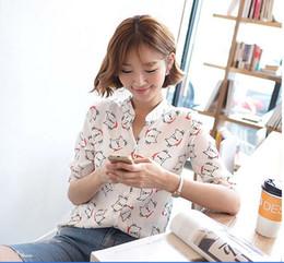 Wholesale New Small Girls Dresses - New summer women dress shirts cute cat Stand Collar shirts small fresh Korean girl chiffon shirt