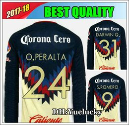 Wholesale Q Black - 2017 2018 Club O.PERALTA America LONG SLEEVE soccer Jerseys O.PERALTA home yellow RODRIGUEZ DARWIN Q. 17 18 JERSEY FOOTBALL SHIRT