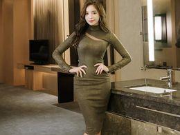 Wholesale Gilt Buttons - Korean autumn and winter ladies fashion new half-high collar knit gilt bag buttocks hollow split bottom dress