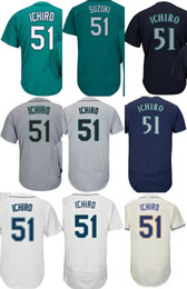 Wholesale Womens Xxl - 2017 Factory Outlet Mens Womens Kids Toddlers Seattle 51 Ichiro Suzuki Beige Blue Green Grey White Cheap Cool Flex Base Baseball Jerseys