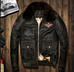 Wholesale Pilot Leather Suits - Top quality AVIREX JACKET US Air Force pilot men's genuine leather jacket G1 man leather flight suit bomber jacket