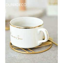 Wholesale Artistic Luxury - Wholesale- DUNXDECO 4PCS Modern Luxury Artistic Geometric 10CM Round Golden Iron Placemat Home Office Table Cup Holder Decoration Gift
