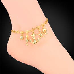 Wholesale Christmas Bracelets For Girls - Foot Jewelry Gold Anklet For Women 2015 Fashion Jewelry Ocean Cute Platinum   18K Real Gold Plated Anklet Bracelet On A Leg A939