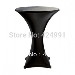 Wholesale Black Lycra Chair Covers - 10pcs Black Lycra dry bar cover Cocktail table cover &cloth for wedding event &party decoration
