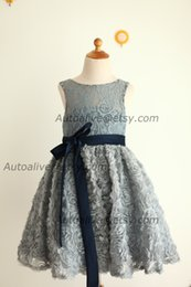 Wholesale Baby Girl Dresses Blue Lace - 2017 Minnie Mickey Gray Lace Rosette Keyhole Flower Girl Dress communion baptism junior Bridesmaid  baby Girl navy Blue Bow Sash wedding