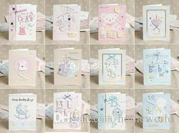 Wholesale Wholesale Mini Envelopes - E130 MINI 1301 12 Designs Lovely New Born Baby Handmade 3D Greeting Cards With Envelope Birth Congratulation Gift 105*140mm