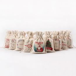 Wholesale Large Outdoor Christmas Decorations Wholesale - Christmas Gift Bags 2016 New 1pc Large Canvas Santa Sack 9 Pattern Organic Heavy Canvas Drawstring Bag