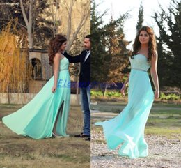 Wholesale Selling Sexy Empire Dress - Hot Selling 2015 New Mint Lace Chiffon Sweetheart Empire Jewel Sash Sheath Silt Side Prom Dresses Evening Gown Party Dresses